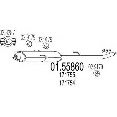 MTS 01.55860 Средний глушитель выхлопны